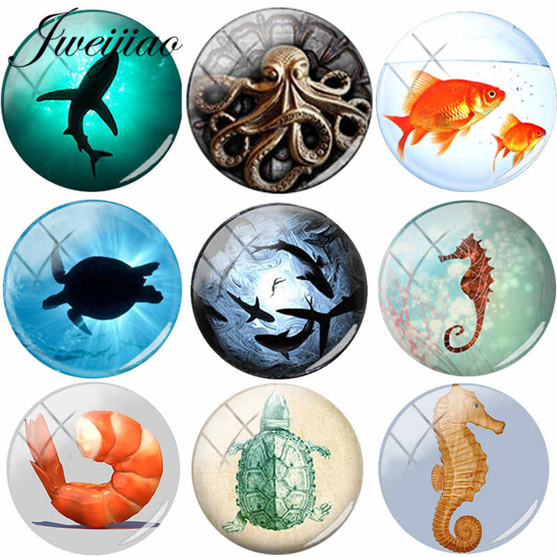 JWEIJIAO Marine Life Glass Cabochon Dome Ocean Sea Animal Art Shark Crab Octopus Turtle Fish Charms DIY Jewelry Findings