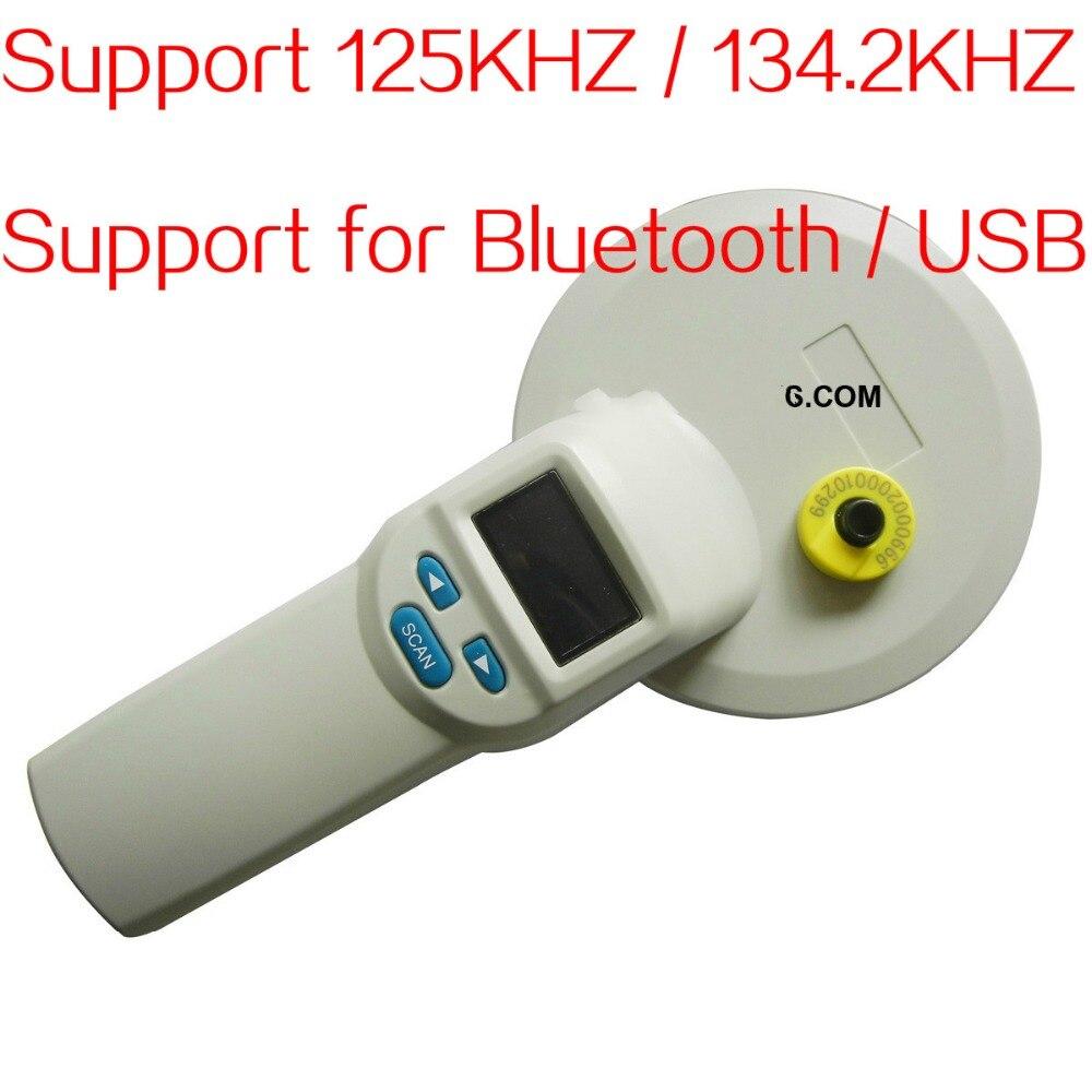 A distanza RFID lettore di Tag pet lettore di Vetro microchip scanner con trasporto libero di Bluetooth orecchio Elettronico tag scanner