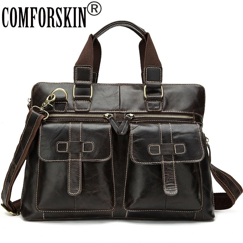 COMFORSKIN New Arrivals Guaranteed 100% Genuine Leather Brand Designer Male Totes Large Capacity Vintage Men Leather Handbags швейная машина vlk napoli 1200 белый