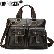 COMFORSKIN New Arrivals Guaranteed 100% Genuine Leather Brand Designer Male Totes Large Capacity Vintage Men Handbags