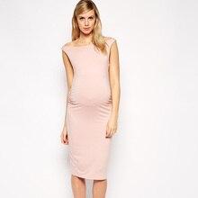 Lovely Pink Elastic Pregnancy Clothes Elegant Maternity Dresses Summer Sleeveless Vest Dress Lycra Office Evening Cocktail Gowns