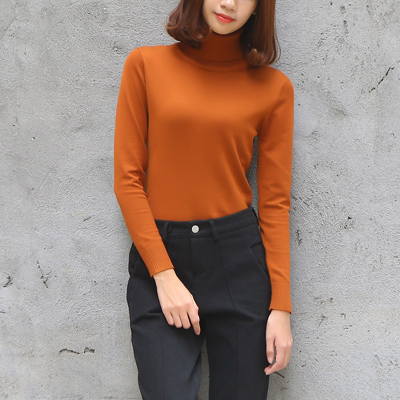 Yichaoyiliang Solid Color Long Sleeve Turtleneck Sweater For Women Basis Bottoming Slim Pullover Jumper