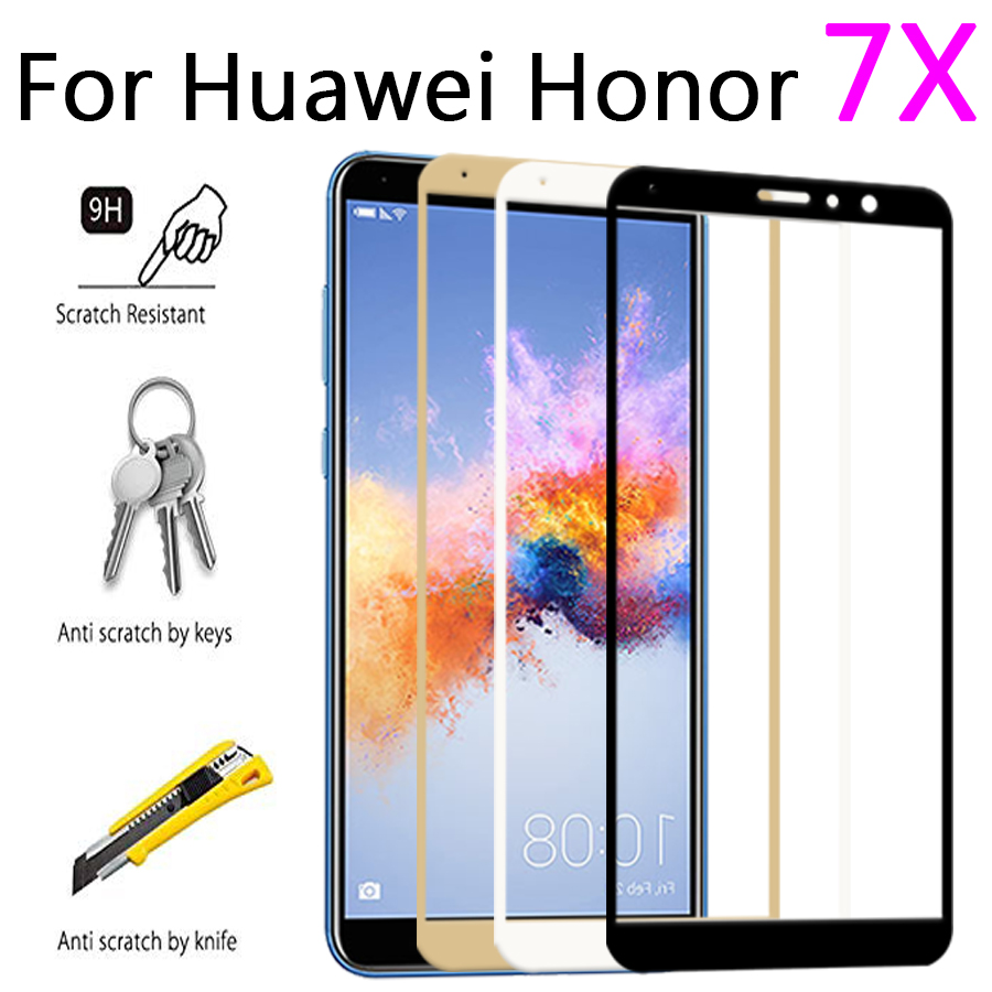 protective glass on for huawei <font><b>honor</b></font> <font><b>7X</b></font> <font><b>verre</b></font> screen protector <font><b>tremp</b></font> huavei huaweii honer 7 x cam tempered glas glase x7 film 9h image