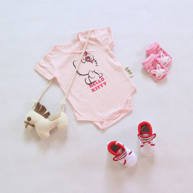 1pc Cloth Newborn Summer Bodysuit Baby Girls Pink Hello Kitty Printed One Piece Suit Cartoon Clothes for babies Newborn Pajamas
