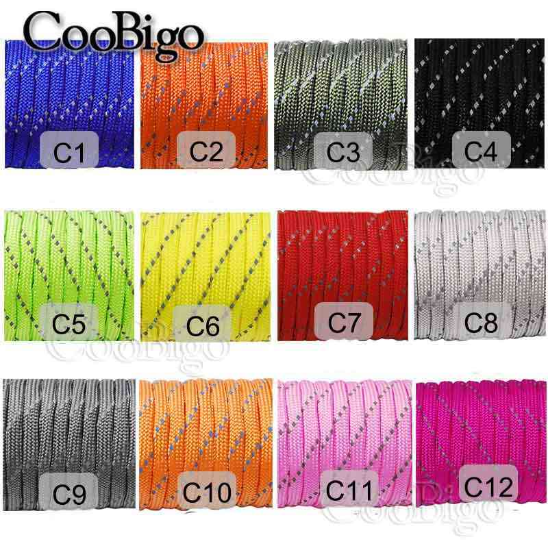 Dia.4mm Reflective Parachute Type III 550 Cord Rope 7 Core Strand Paracord Bracelet Buckle Outdoor Camping 10Ft~328Ft