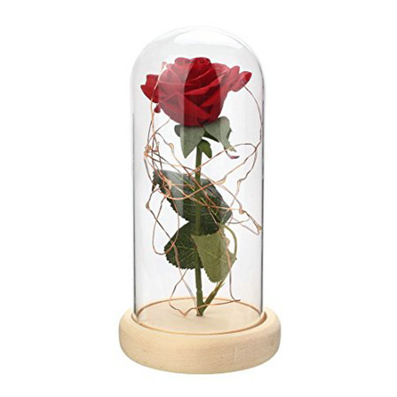 LED Night Light Red Rose Glass Eternal Flower Beauty and the Beast Wooden Base Valentine Birthday Gift Luminous Home Decoration disney decoration birthday gifts beauty and the beast the little prince glass cover fresh preserved flowers rose children toys