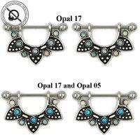 Pair 316L Surgical Steel Gemmed Opal Stone Opal Half Mandala Nipple Ring Nipple Shield Piercing Barbell