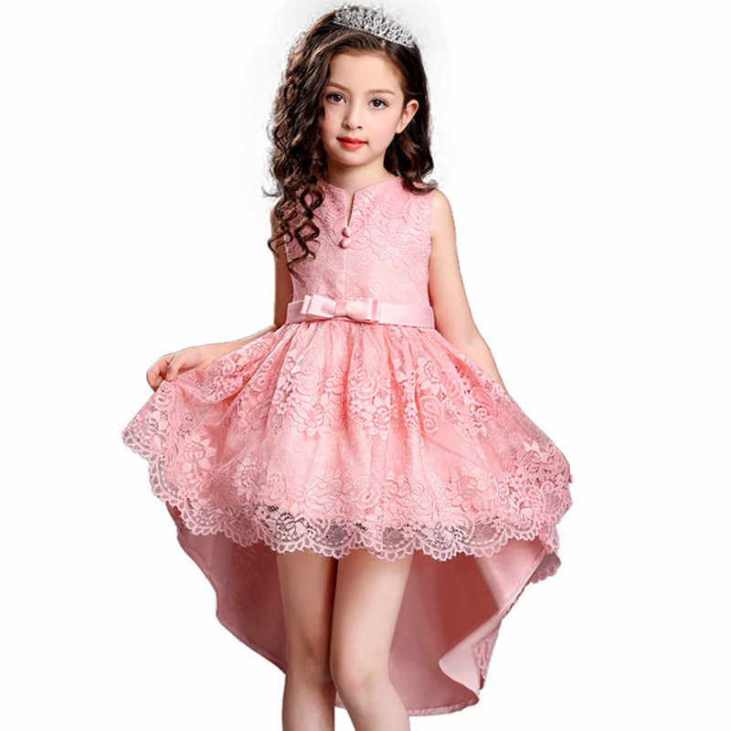 Kids Party Dress of Girl Toddler Children Embroidery Trailing Dress floral girl dress Baby Girl clothes Princess Dress 2-14 Year korean toddler girl dress kids baby girl linen summer clothings princess fashion kids clothes