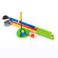 Children Kids Golf Club Toys 3 Golf Clubs + 3 Golf Ball+1 Ball Hole + 1 Flag Toy Golf Game Sports for Baby Ability Developing