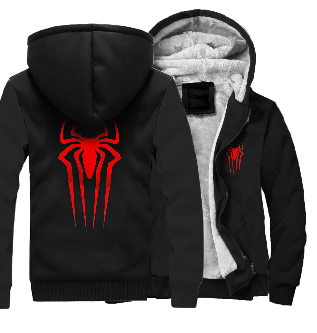 2018 Autumn Winter Thick Sweatshirts For Men Hip Hop Streetwear Hooded Hoodie SpiderMan Harajuku Men's Hoodies Punk Jacket Hoody