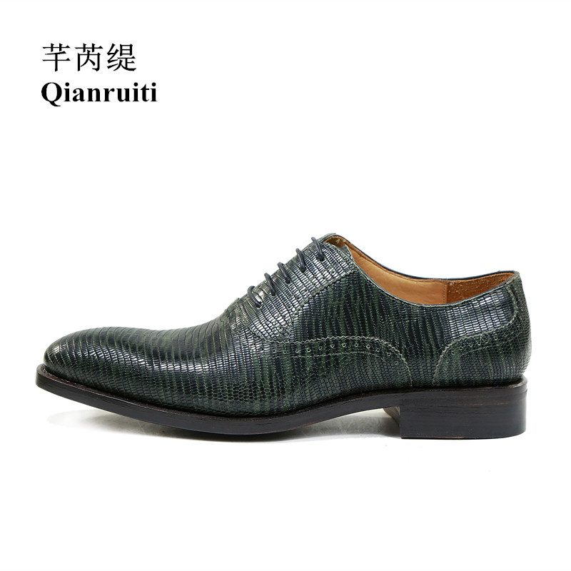 Qianruiti Men Lizar Skin Leather Shoe Business Formal Oxford Handmade Flat Dark Green Men Lace-up Dress Shoes with Exquisite Box choudory summer dress crocodile skin shoes men breathable prom shoes full grain leather pointy mens formal shoes shoe lasts