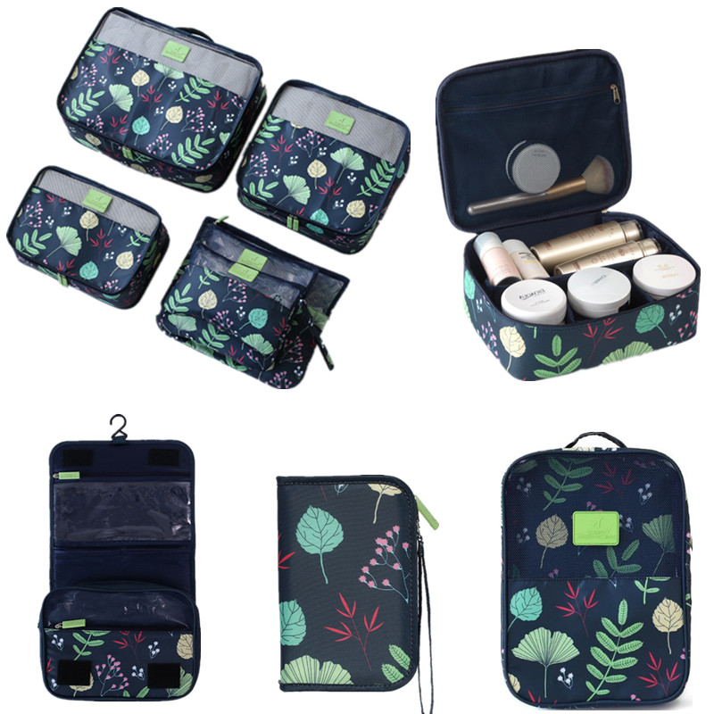 Women Flower Travel Storage Pouch Set Waterproof Clothes Shoes Underwear Cosmetic Organizer Bag Suitcase Tote Accessory Luggage