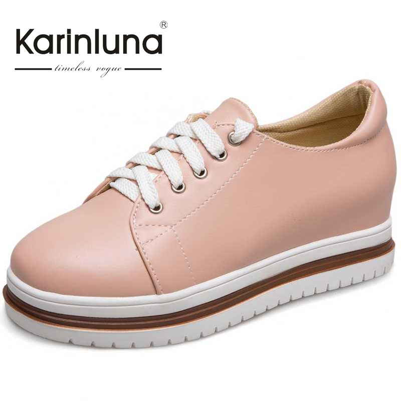 ФОТО KARINLUNA Bordered Women Flats Vintage Lace Up Thick Platform Shoes 2017 Brand Woman Leisure Loafers Spring Brogue Shoes