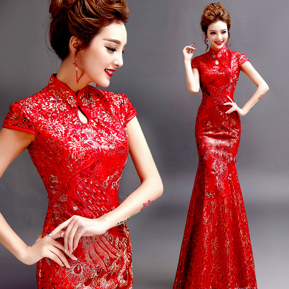 Us 51 34 8 Off Red Gold Cheongsam Dress Chinese Wedding Traditions Traditional Lace Formal Long Dresses Oriental Dress Patterns Clothing Store In