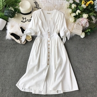 2019 new fashion women's dresses Vintage half sleeve length summer dress white linen V neck holiday