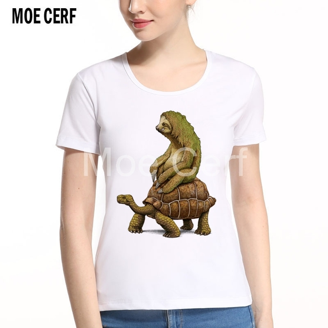 2017 New Brand Modal T Shirt Police Dept Design T Shirts: Sloth Riding Turtle Design Women T Shirt Funny Unicorn Fox