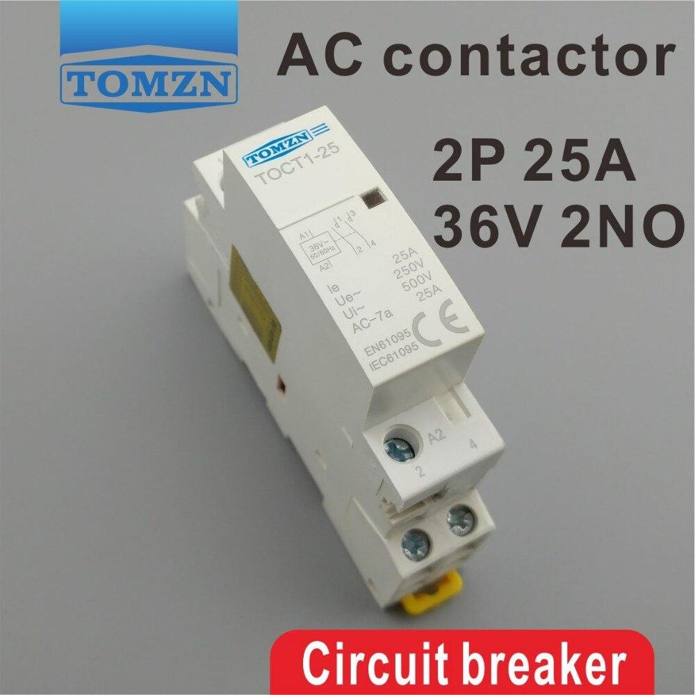 TOCT1 2P 25A 36V 50/60HZ Din rail Household ac Modular contactor 2NOTOCT1 2P 25A 36V 50/60HZ Din rail Household ac Modular contactor 2NO