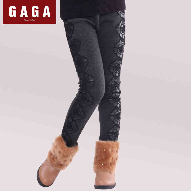 GuaGuaEgg 2016 Winter Autumn PU Stitching lace girls leggings high elastic thick velvet pants girls trousers
