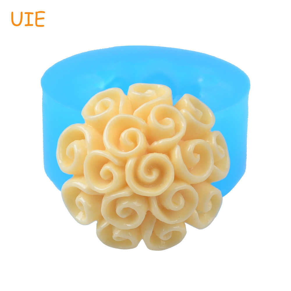 HYL061U 18.9mm Flowers Flexible Silicone Mold - for Fondant, Cake Topper, Gum Paste, Jewelry, Resin Fimo Clay, Cookie Biscuit