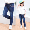 2017 Spring and Autumn Hot Fashion Classic Children's Pure Cotton Jeans Girl Pure Color Pocket Embroidered Flower Slim Pants