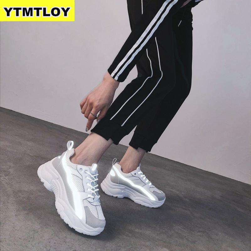 Women Sneakers 2019 Fashion Casual Shoes Woman Comfortable Breathable White Flats Female Platform Chaussure Femme Reflective