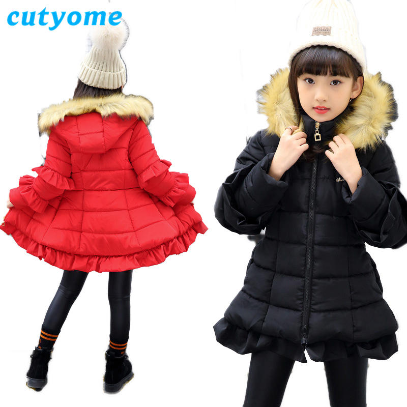 c38763838d4f Detail Feedback Questions about 2018 Teenager Girls Winter Jackets Black  Red Solid Fashion Ruffles Sleeve Real Fur Hooded Parka Coat for Children  Outerwear ...