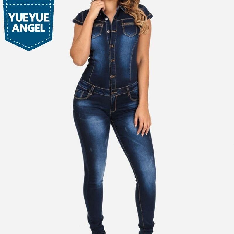 72d1475753 2019 New Long Pants Denim Women Jean Jumpsuit Fashion Short Sleeve Slim Fit  Jumpsuit For Woman ...