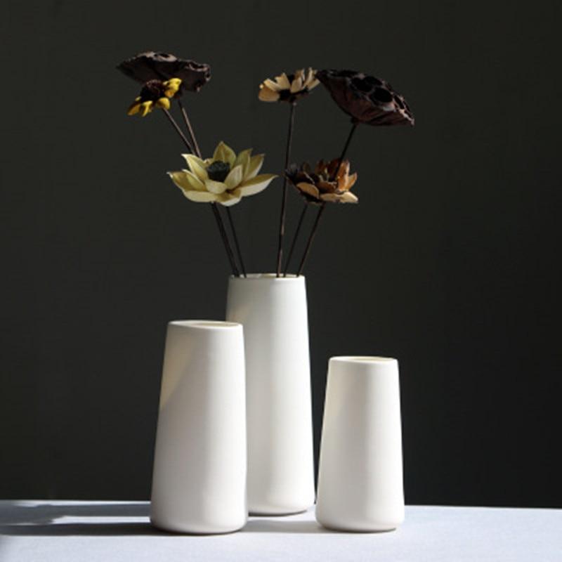 DLYLDQH Classic White Ceramic Vase Chinese Crafts Decoration Simple Ceramic Vase Creative Gift Home Decoration