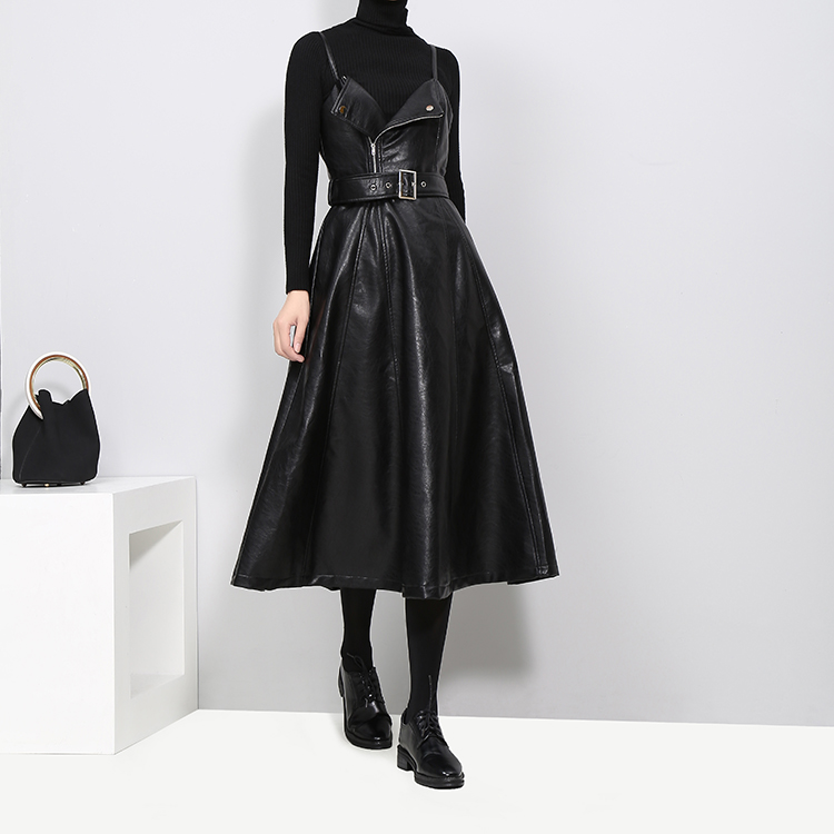 2017 Winter Women Faux Leather Black Dress With Belt A-Line Spaghetti Strap Sleeveless Female Evening Party Club Wear Dress 3014 3