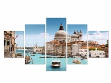 5 Pieces Free Shipping Canvas painting venice italy city landscape sea water living room home wall modern art poster Framed