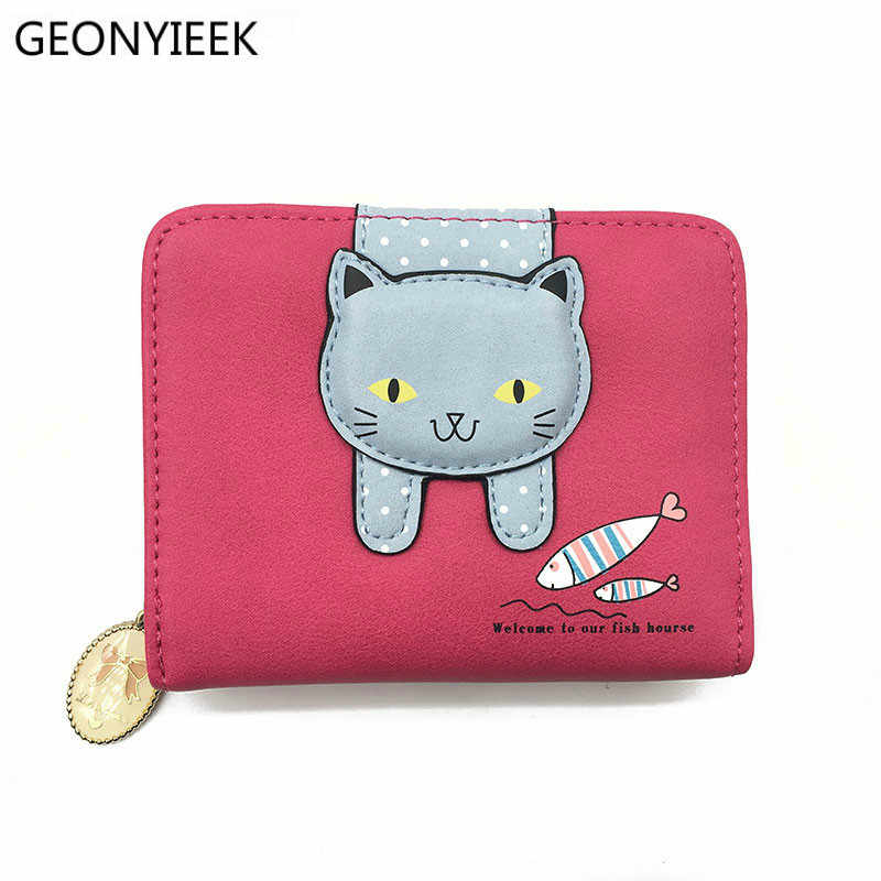 6944bbc050b Women cute cat wallet small zipper girl wallet brand designed pu leather  women coin purse female