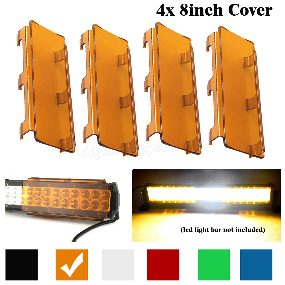 32 inch Snap On 4x 8 inch LED Work Light Bar Dust Proof Protective Cover Shell Amber Clear Black Red Green Blue Color Offroad