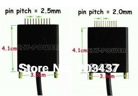 Cargador de Batería Universal Portátil Externo Portátil cables de conexión 1 unid 2.0mm & 1 unid de 2.5mm cable de conexión universal conectores