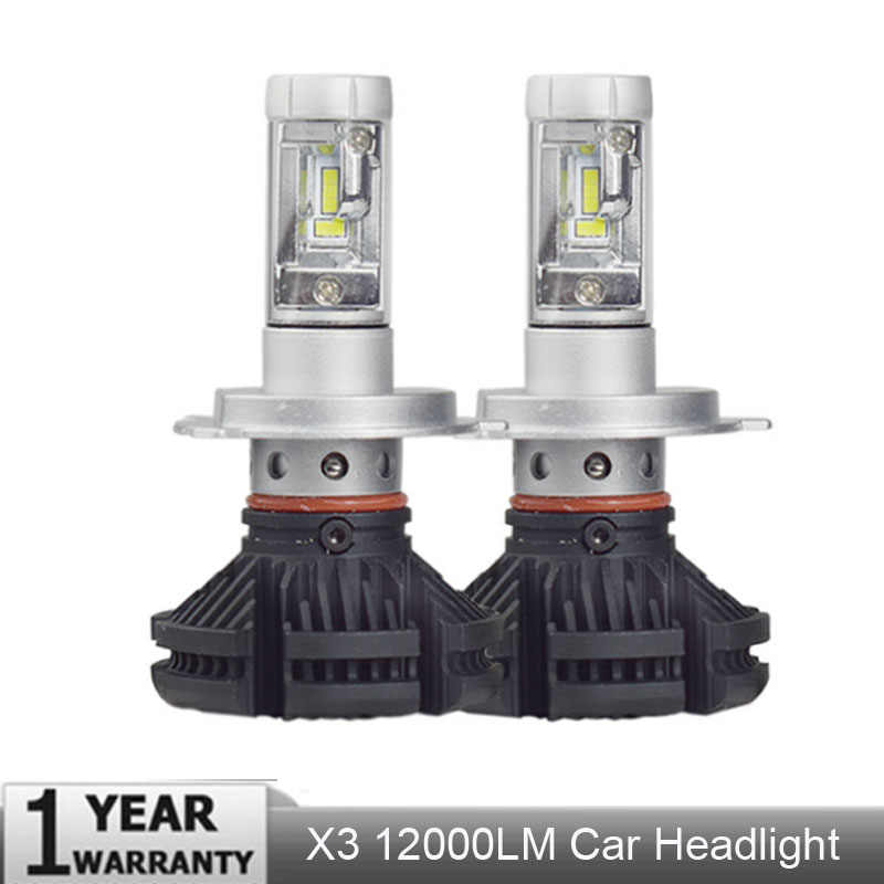X3 Car Headlight LED lamp 50W 12000LM 3000K 6500K H1 H4 H11 H7 9005 HB3 Aviation aluminum CSP Hi/lo Beam DC9-32V 8000K bulb