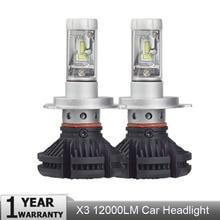 X3 автомобиля светодиодная лампа 50 W 12000LM 3000 K 6500 K H1 H4 H11 H7 9005 HB3 авиационного алюминия CSP Hi/lo луч DC9-32V 8000 K лампа