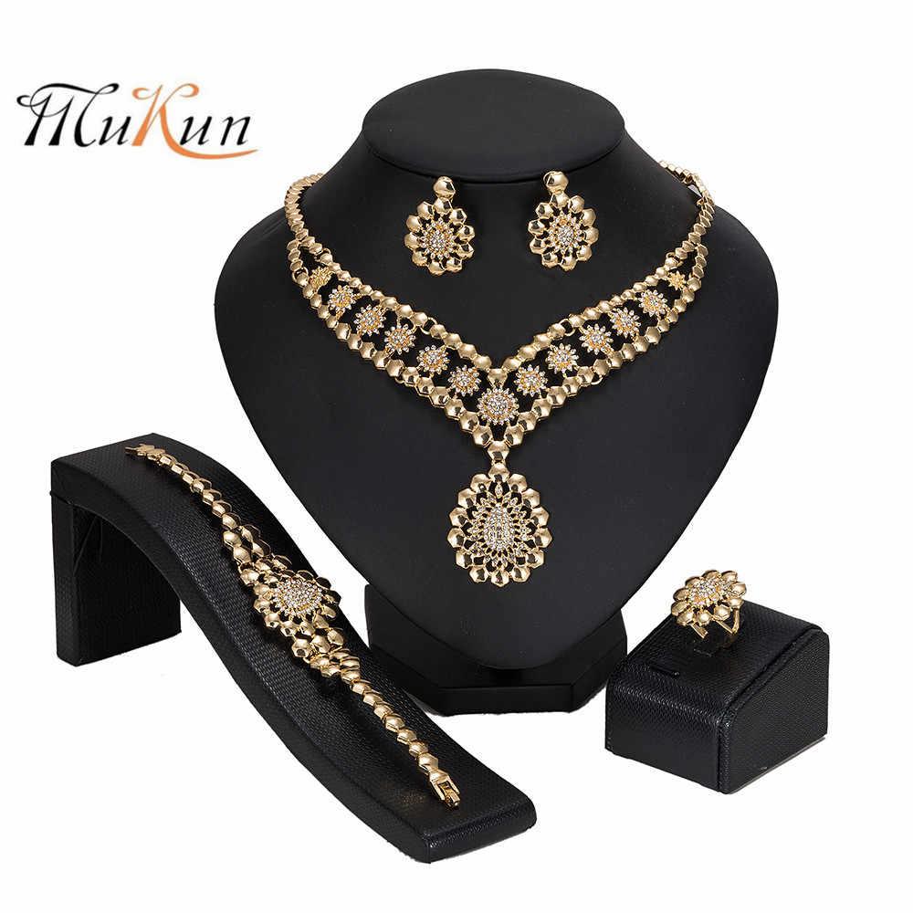 MUKUN 2019 Dubai Gold Bunte schmuck set Großhandel Hochzeit frau zubehör schmuck set Marke qualität statement-schmuck-set