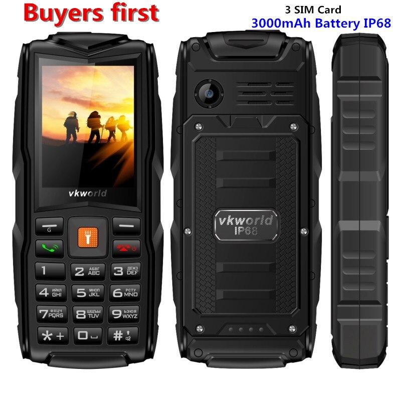 D'origine VKWorld Nouvelle Pierre V3 IP68 Étanche 2.4 pouce Mobile Téléphone 3 Cartes SIM 3000 mah MP3 Téléphone Portable peut ajouter clavier russe