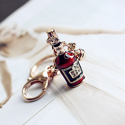 High Quality Big claret-red Beer Bottle Keychain Key Ring Women Handbag Zipper Pendant For Lover Gift Jewelry