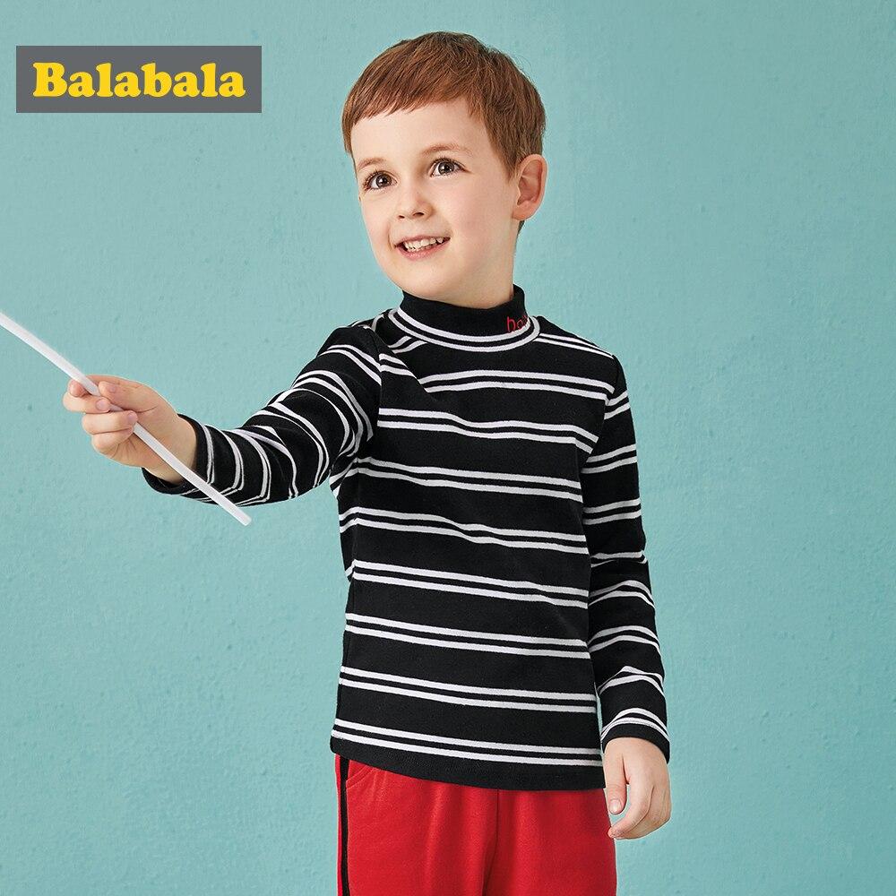 Balabala hiver T-shirt pour garçons enfant demi-haut col pull enfant en bas âge enfants à manches longues hauts rayure et solide couleur mode