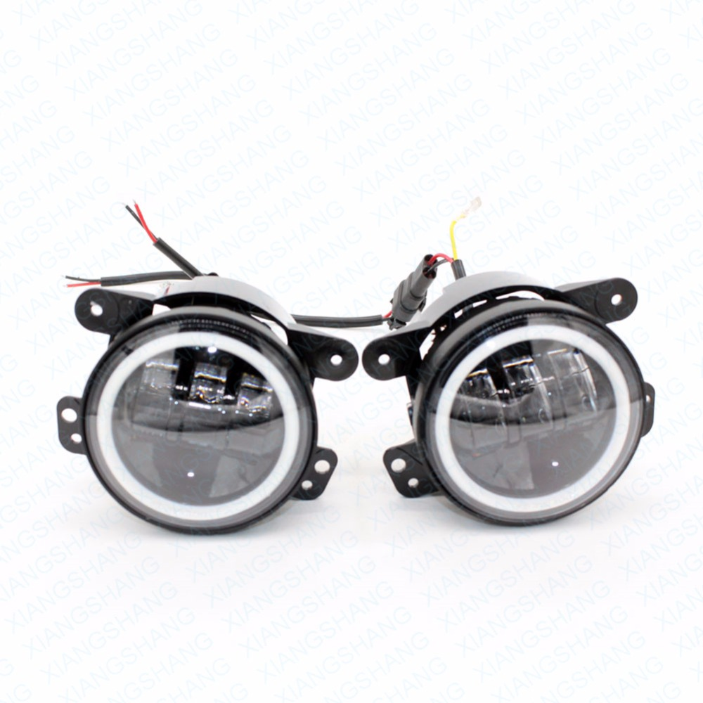 ФОТО 2Pcs/Pair 30W 4 Inch Car Led Fog Light Lamp Headlight High Power For Offroad Jeep Wrangler Jk Harley Daymaker W/ Halo Ring Auto