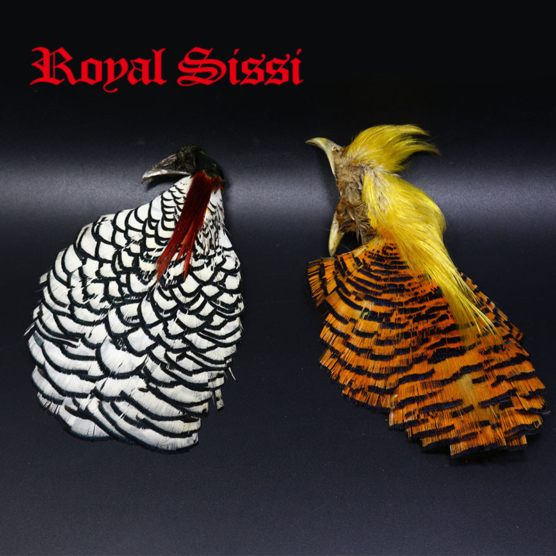 1pcs Natural Complete Golden Pheasant Head Crest & 1pcs Complete Lady Amherst pheasant Heads assorted fly tying feather material бумажник golden head портмоне 3331501