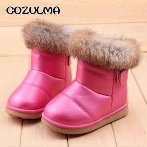Image 4 - Cozulmaベビーキッズ冬ブーツガールズボーイズ雪のブーツ暖かいぬいぐるみウサギの毛皮の子供冬のブーツのための男の子