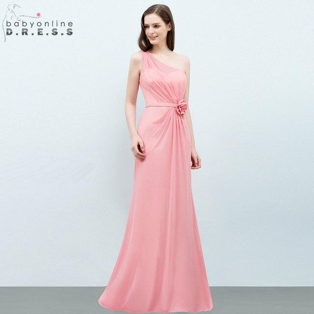 f819b401f57bb US $39.99 35% OFF|Babyonline Cheap Pink Long Chiffon Evening Dresses 2019  Sexy One shoulder Formal Party Dresses vestido de festa-in Evening Dresses  ...