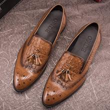 Новая кожаная мужская повседневная обувь с узором «крокодиловая кожа», с кисточками, без шнуровки, Весенняя Мужская обувь с острым носком и резным узором