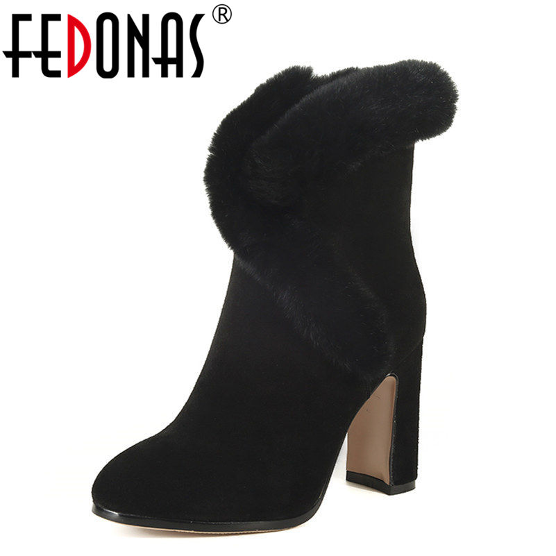 FEDONAS New Women Boots 9.5CM Heel High Genuine Leather Winter Ankle Boots Platforms Warm Rabbit Fur+Plush Boots Shoes Woman fedonas top quality winter ankle boots women platform high heels genuine leather shoes woman warm plush snow motorcycle boots
