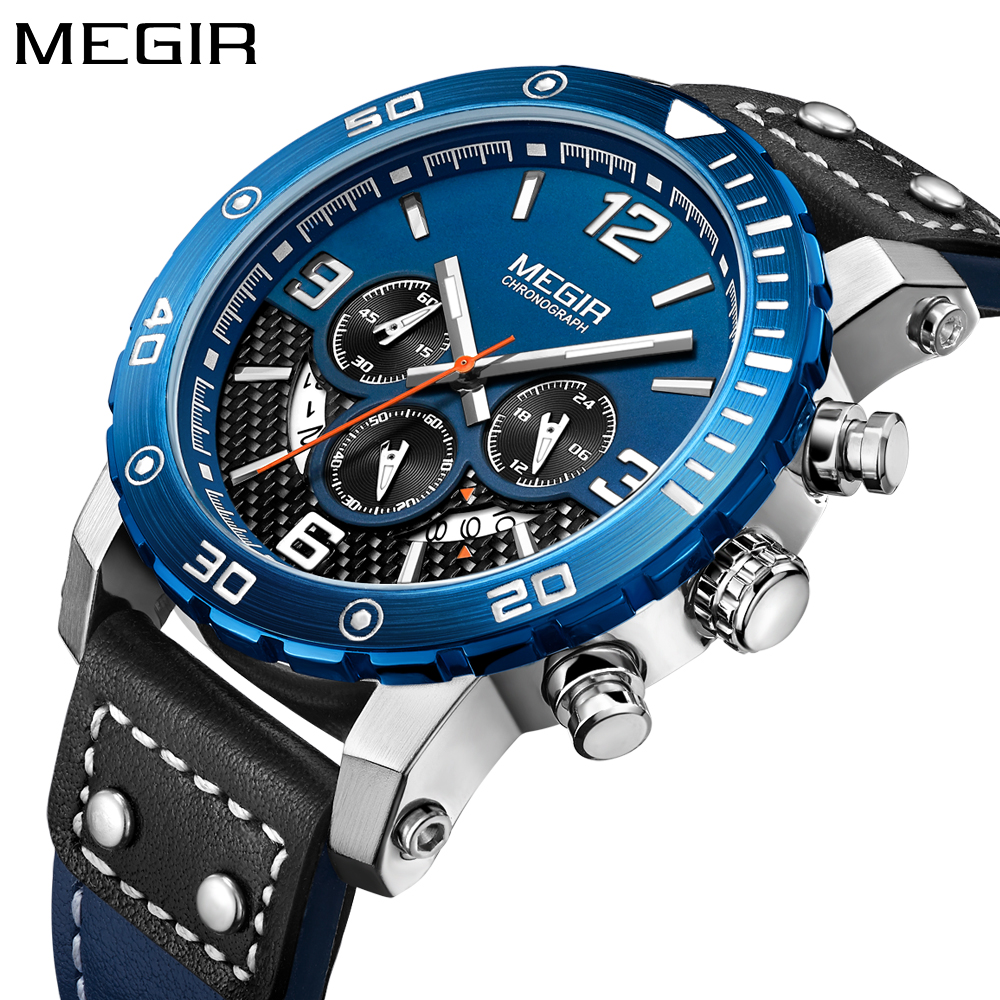 цены New MEGIR Top Brand Luxury Men Watch Army Military Sport Watch Men's Wrist Watches Boys Leather Date Clock Man Relogio Masculino