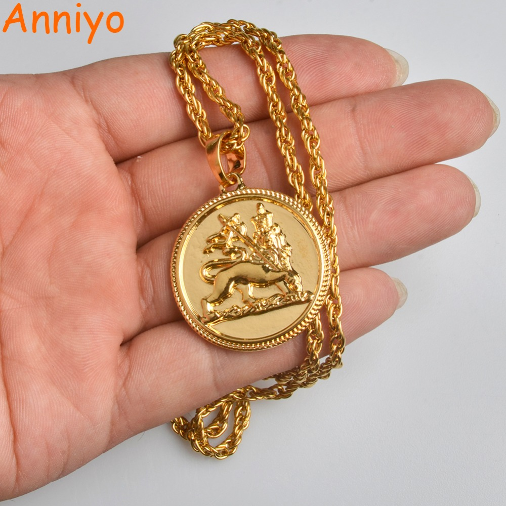 Anniyo African Ethiopian Lion Pendant & Necklace for Women/Men the Lion of Judah Jewelry Charms Ethnic Gifts #070506