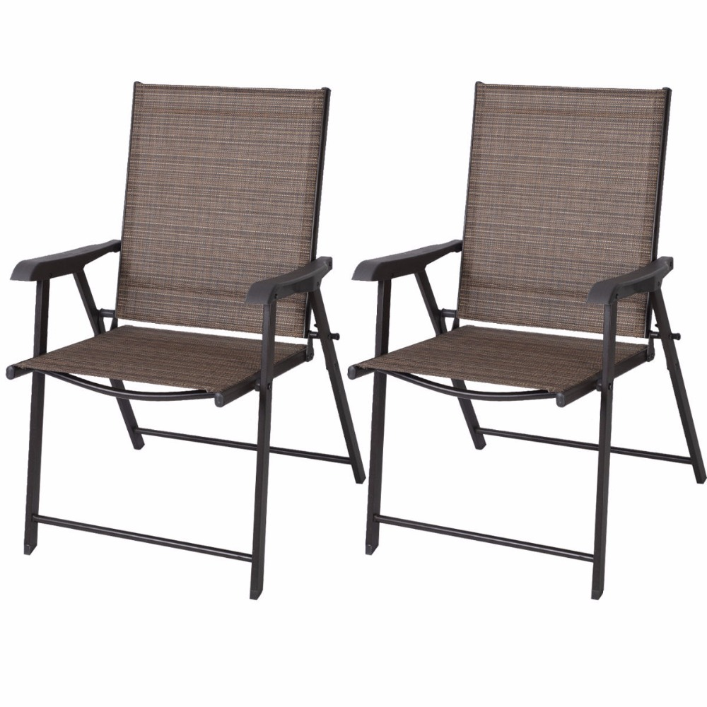 Set Of 2 Outdoor Patio Folding Chairs Furniture Camping Deck Garden Pool  Beach HW50331