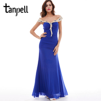 Tanpell Off The Shoulder Evening Dress Dark Royal Blue Sleeveless Floor Length Gown Chiffon Ruched Ladies