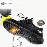 Мужская дышащая Рабочая защитная обувь мужские уличные противоскользящие стальные проколы строительные защитные сапоги обувь стальной но...